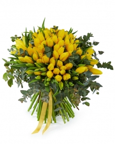 Bouquet 101 yellow tulips