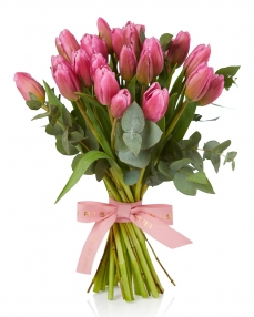 Bouquet 25 pink tulips