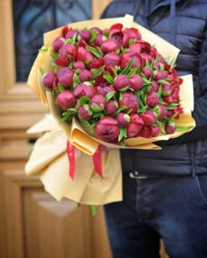 Buchet 51 bujori rosii