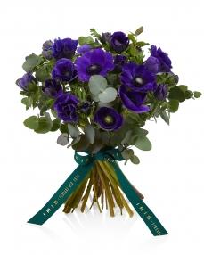 Bouquet with 25 purple anemones