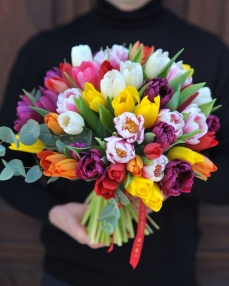 Bouquet with 51 multicolor tulips
