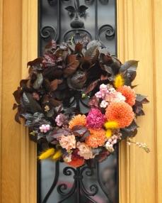 Autumn wreath with dahlias