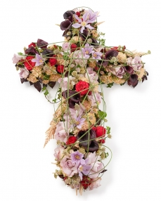 Funeral cross with cala and roses