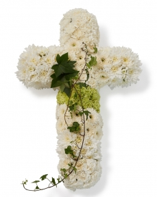 Funeral cross with chrysants and dianthus
