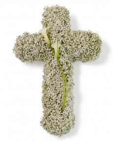 Cruce funerara cu gypsophila
