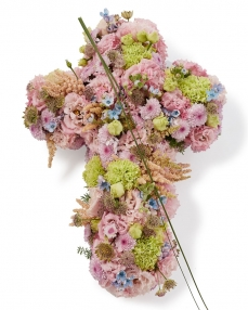 Funeral cross with lisianthus and astilbe
