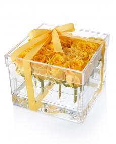 Acrylic box 15 yellow roses