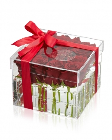 Acrylic box 15 red roses