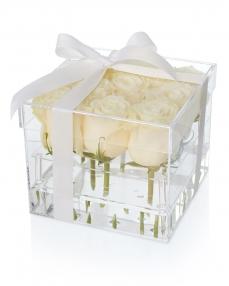 Cutie acrilica 9 trandafiri albi