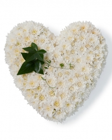 Funeral heart with chrysanthemum