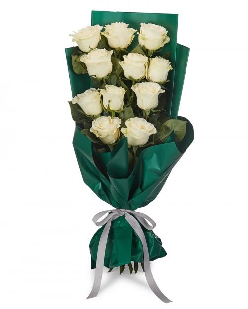 Buchet 11 trandafiri albi
