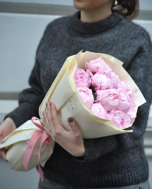 Buchet 15 bujori roz