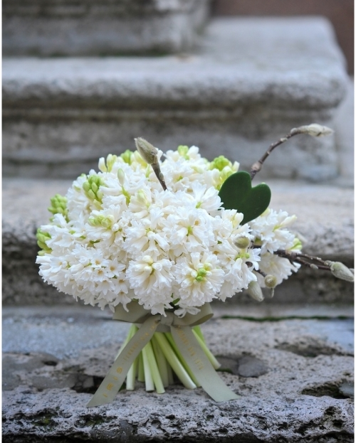 Bouquet with 35 white hyacinths