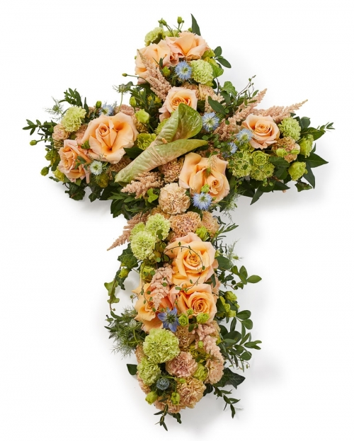 Funeral cross with roses and astilbe