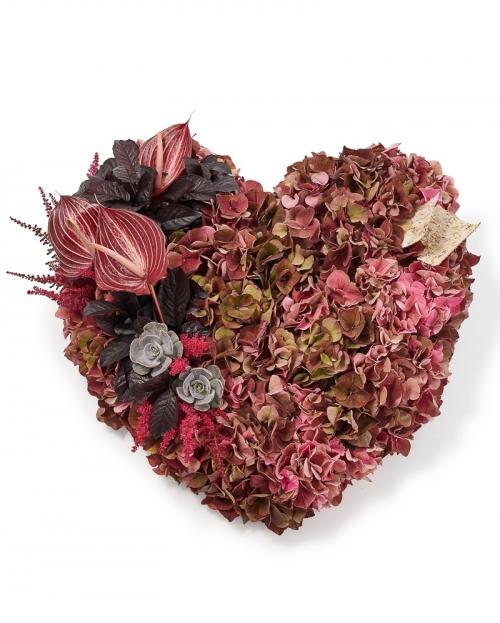 Inima funerara cu hortensia si anthurium