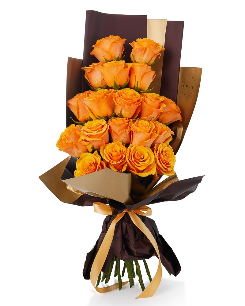 Buchet 19 trandafiri portocalii