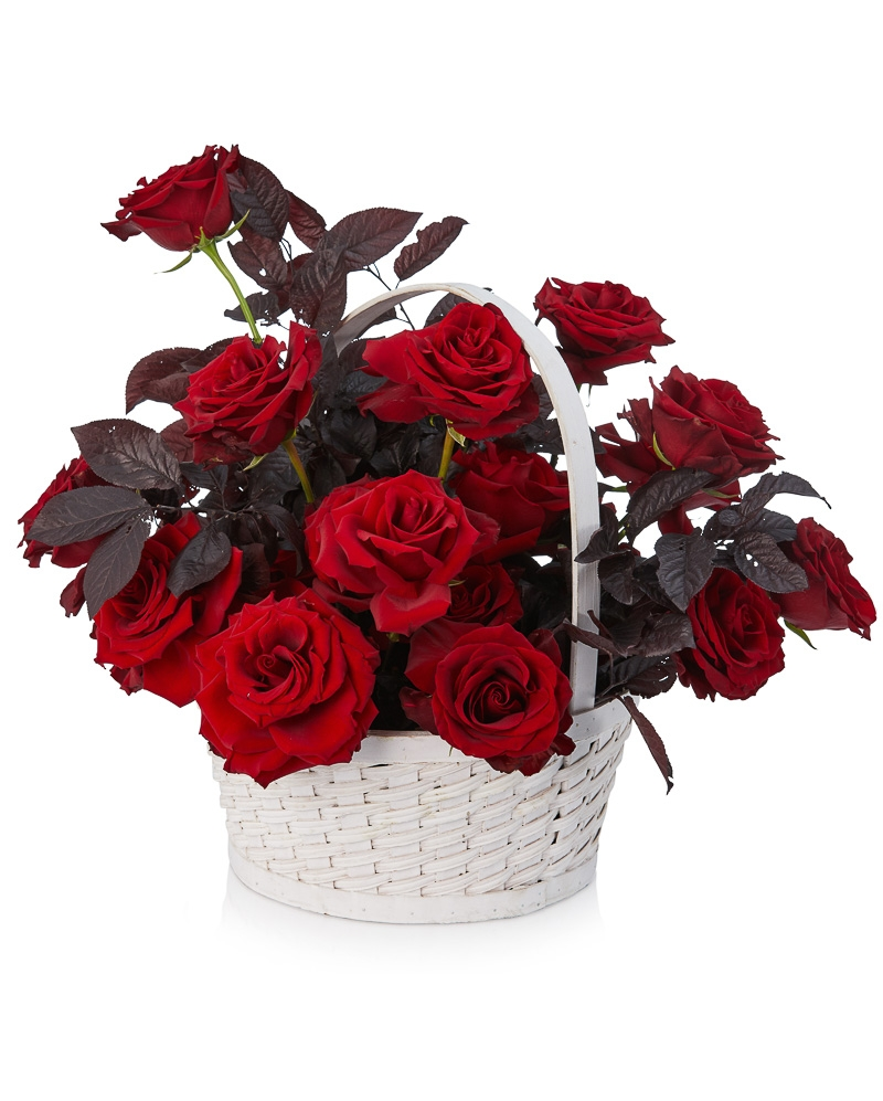 Basket with 25 red roses