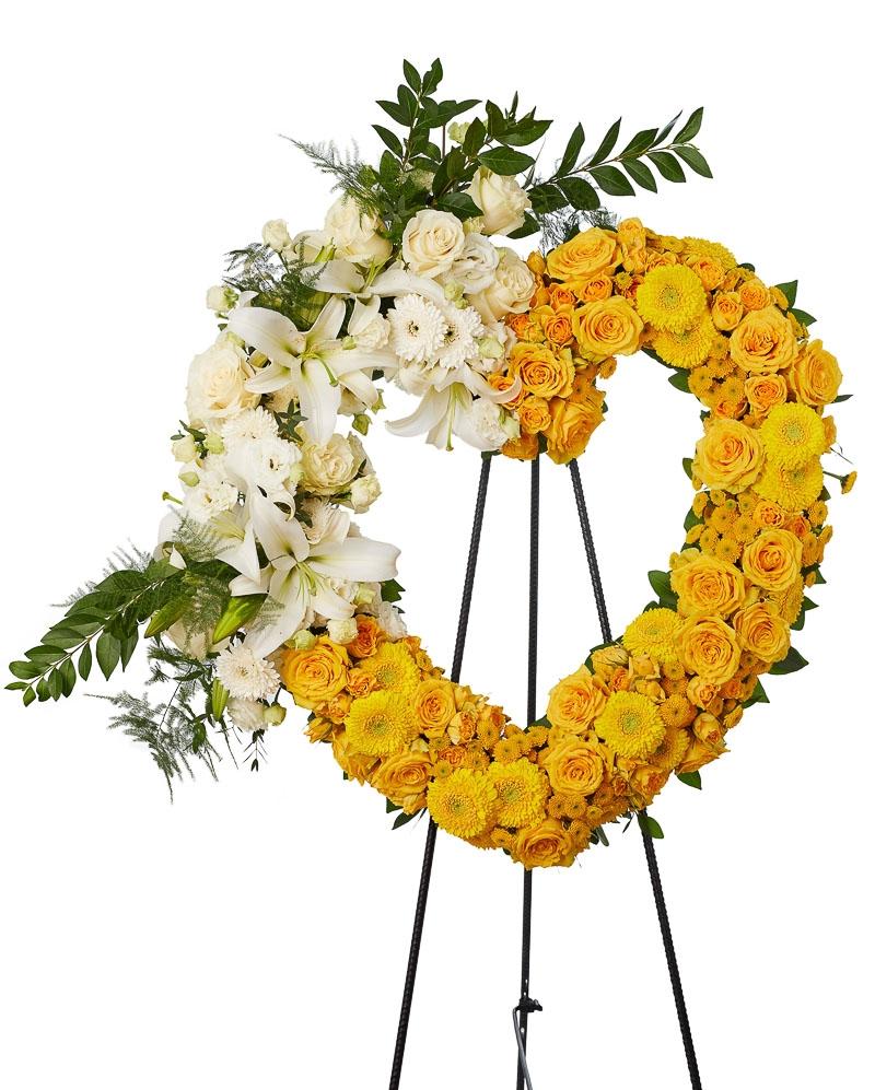 Inima funerara cu gerbera si trandafiri